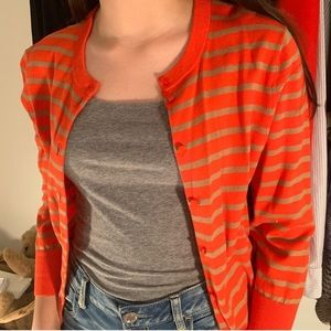 J.Crew Orange and Tan Striped Cardigan